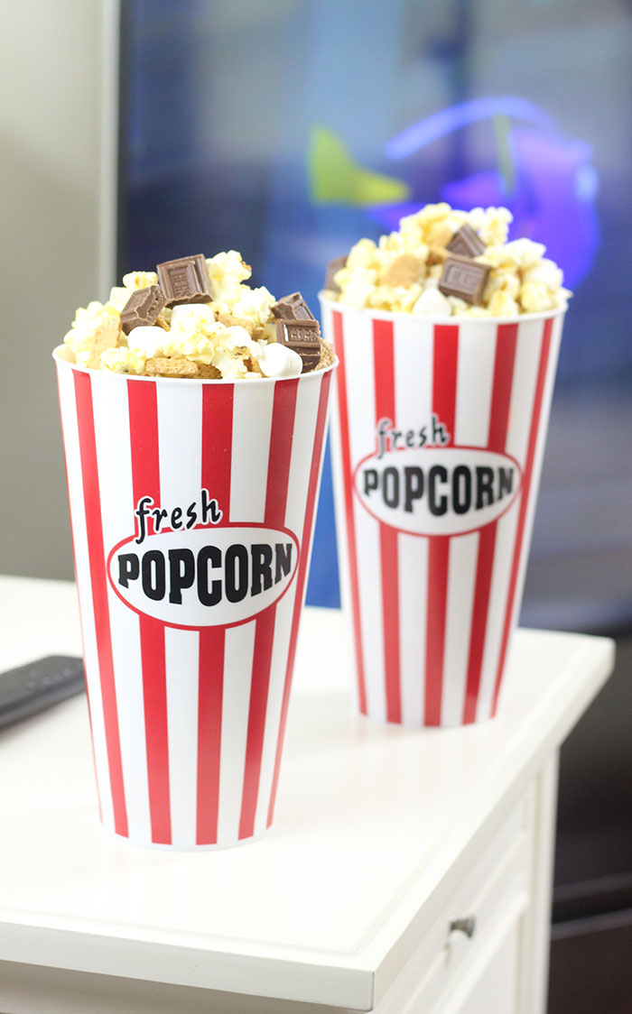 S'mores Popcorn made easy & impromptu movie night ideas.