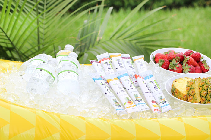 Hydration station for summer. See how to set up an easy cooler in a float and how to stock your station with hydrating food and drinks. Froozer is the perfect frozen snack to cool off with.