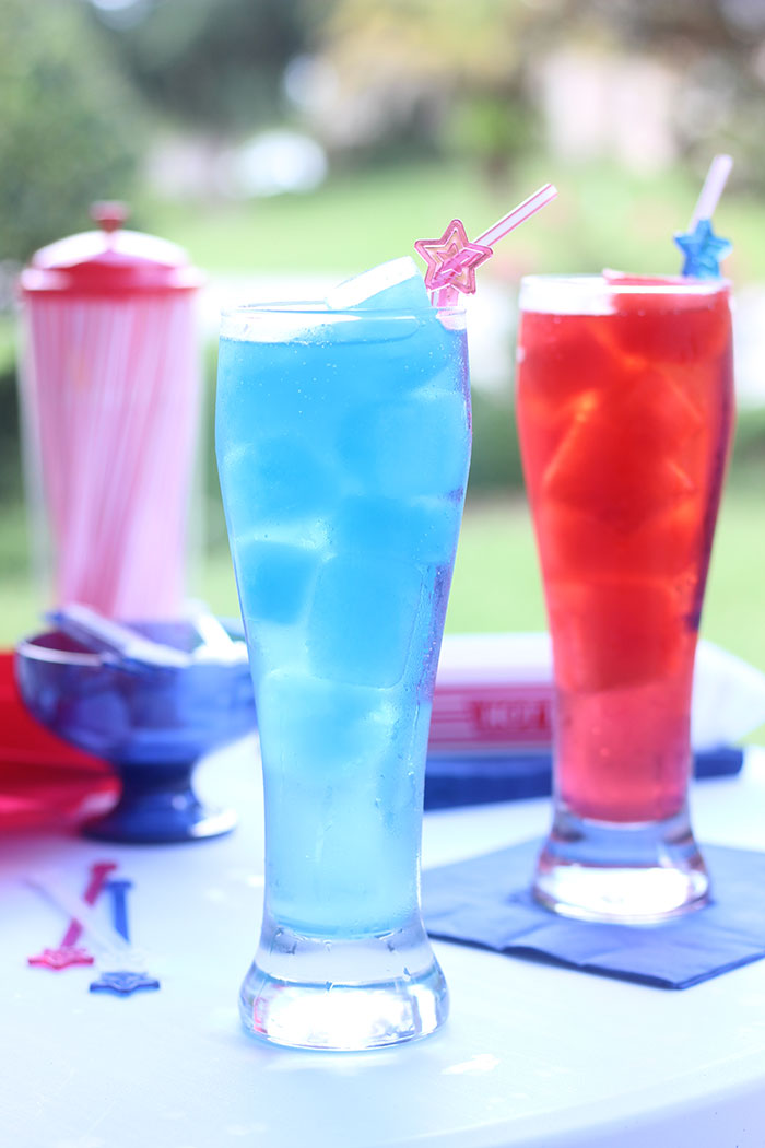 Patriotic Punch. Make colorful juice ice cubes and just add soda for the perfect and simple Labor day recipe.
