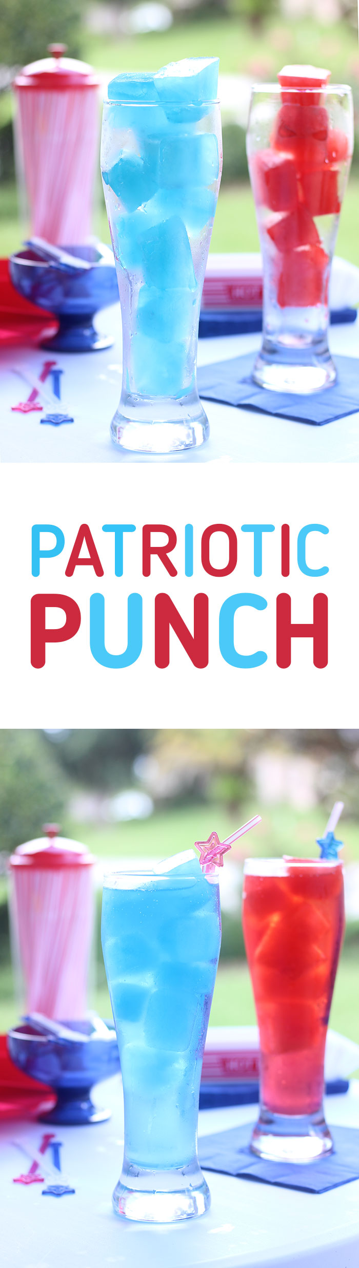 Patriotic Punch - kid friendly. Make colorful juice ice cubes and just add soda for the perfect and simple Labor day recipe.