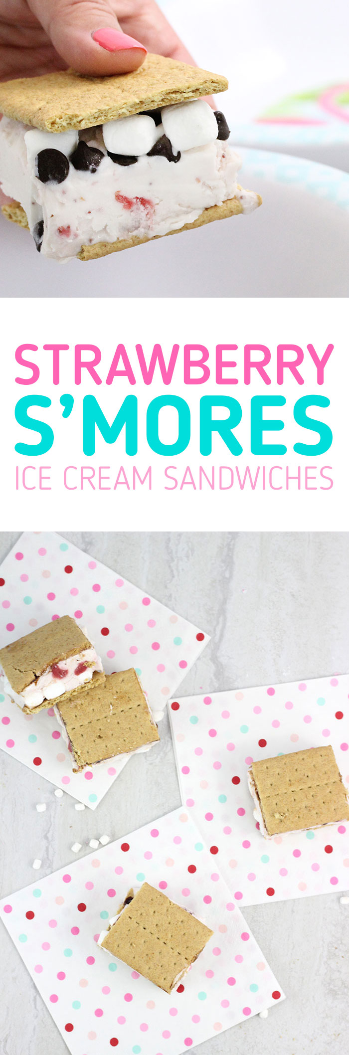 Strawberry S'mores Ice Cream Sandwiches. So easy and yummy. Customize your own ingredients.