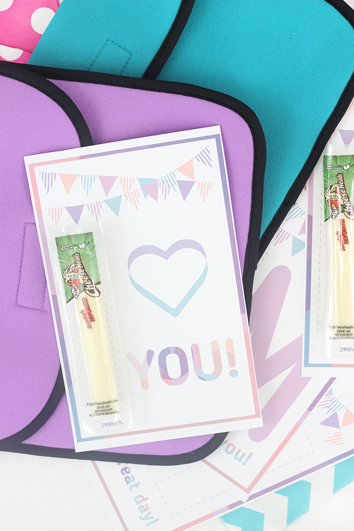 Lunchbox Printables for cheese stick snacks. Super cute way to share love with your kiddos in their lunchbox.