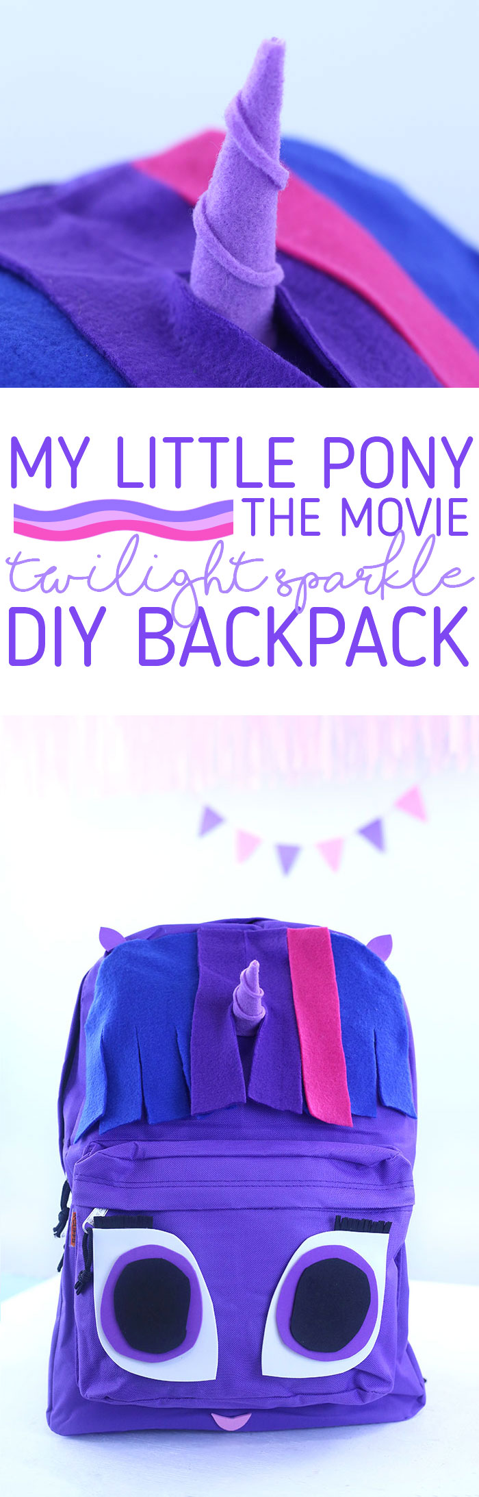 MLP DIY. Celebrate My Little Pony The Movie in theaters on 10/6 with this super cute Twilight Sparkle backpack DIY project.