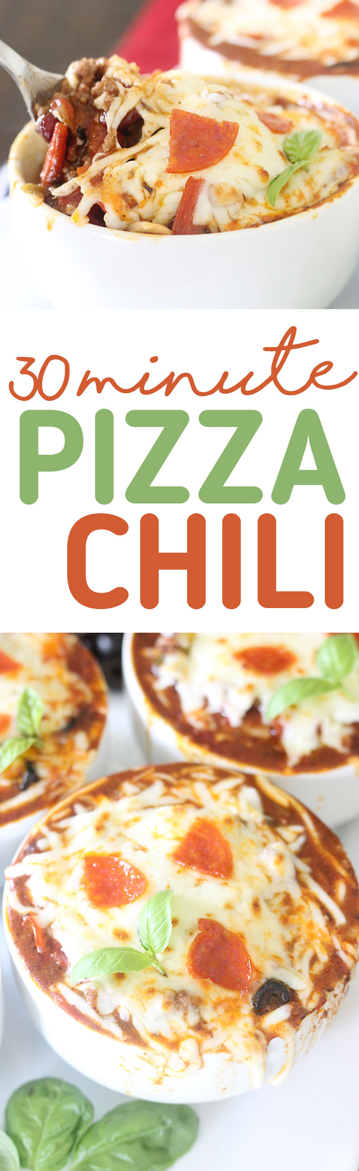 Pizza Chili that can be made in just 30 minutes. Make any night more awesome with this EASY recipe.