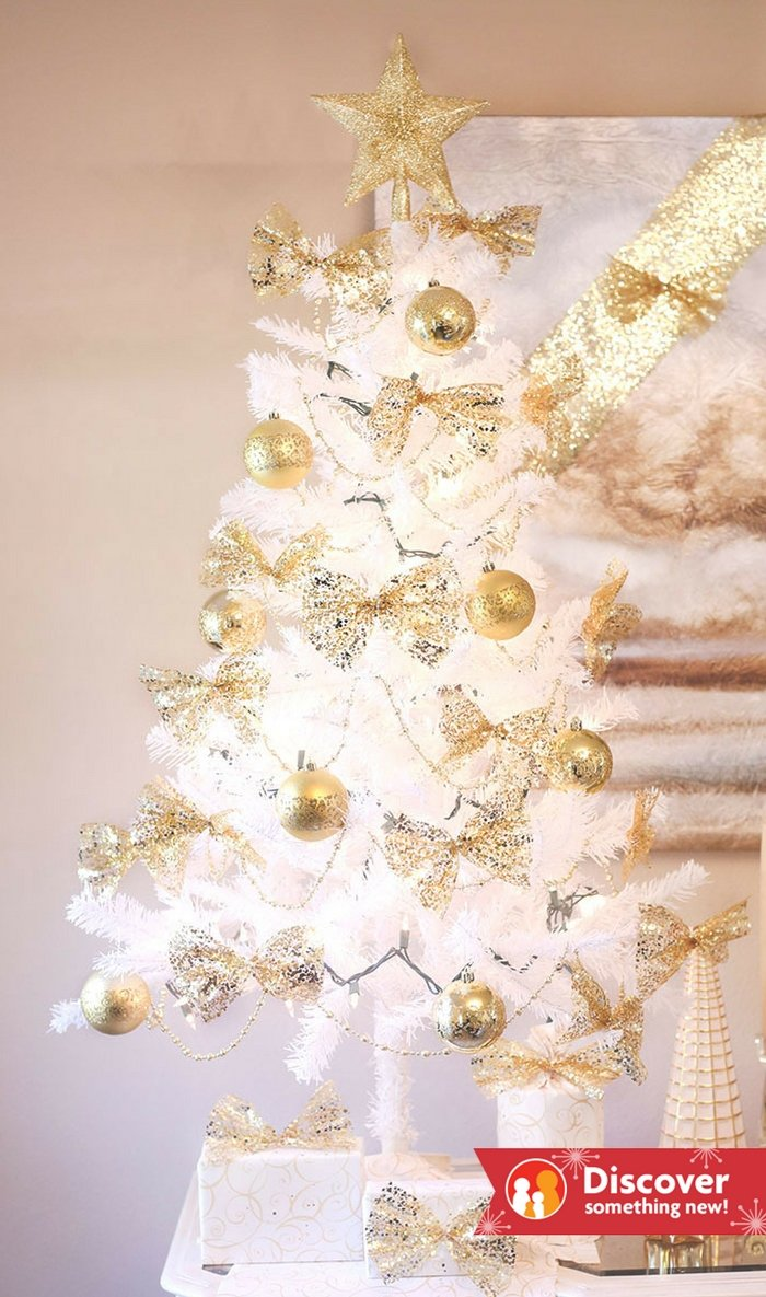 White and gold christmas decorations for less lifestyle blog for Decor gold blog
