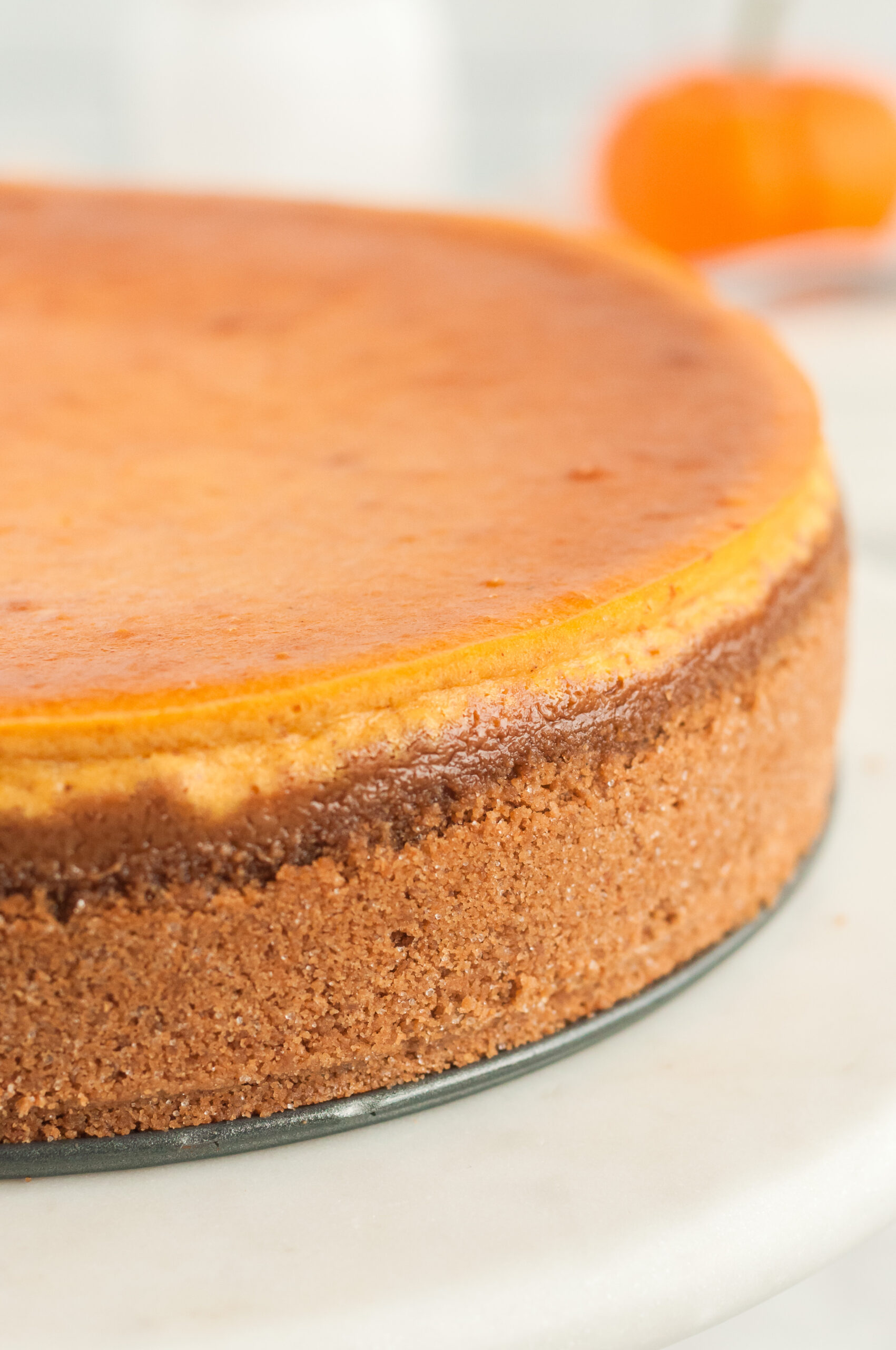 delicious pumpkin cheesecake fresh out of the oven. crusted layers