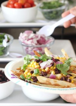 French Fry Bar with Nacho Toppings.