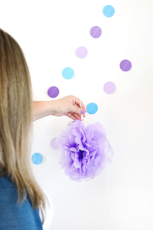 purple tissue decoration