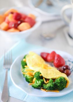 Broccoli and Cheddar Omelet that melts in your mouth.