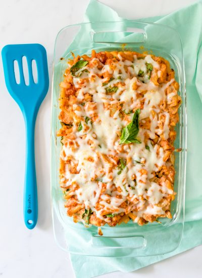 15 Minute Chicken and Veggie Pasta Bake
