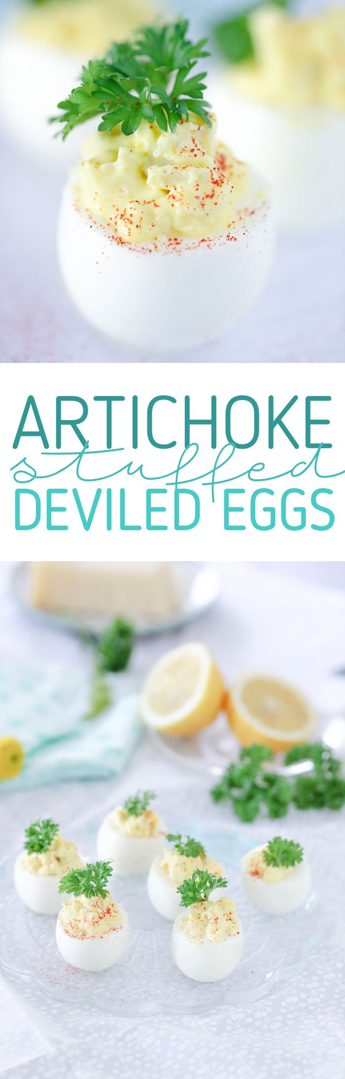 Artichoke Stuffed Deviled Eggs. So good for a twist on the traditional recipe.