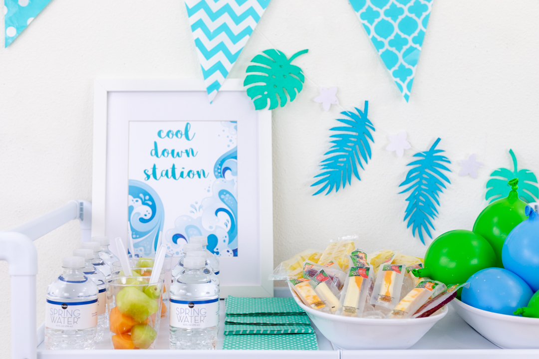 Cool Down Station Ideas. Hydration Station for kids. Party Table.