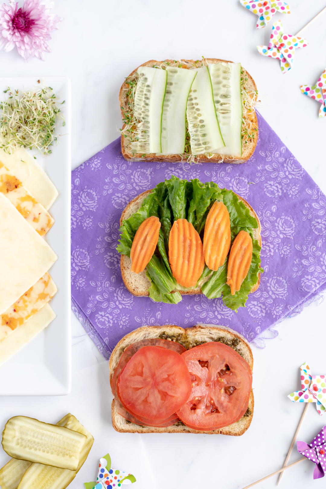 Picnic Sandwiches. Veggie packed sandwiches.