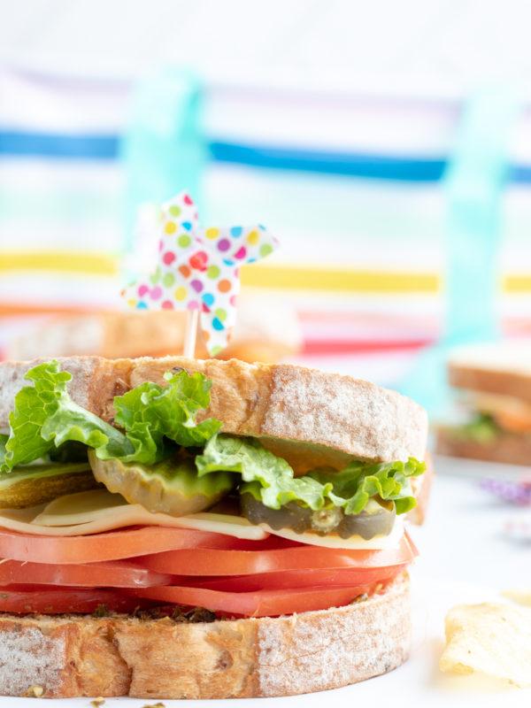 Picnic Sandwiches. Veggie packed sandwiches.