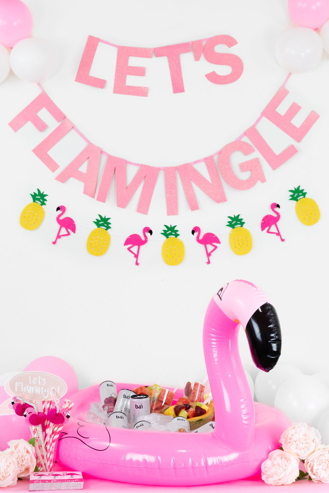 Flamingo Party Float with drinks. Summer Party Ideas with Bai Bubbles.