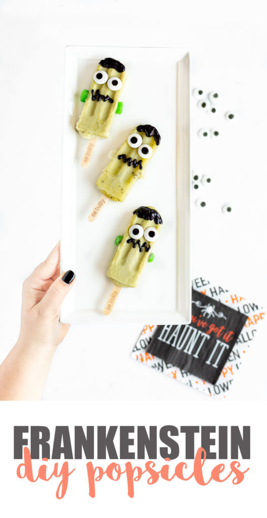 Frankenstein Popsicles for a Healthier Halloween Treat.