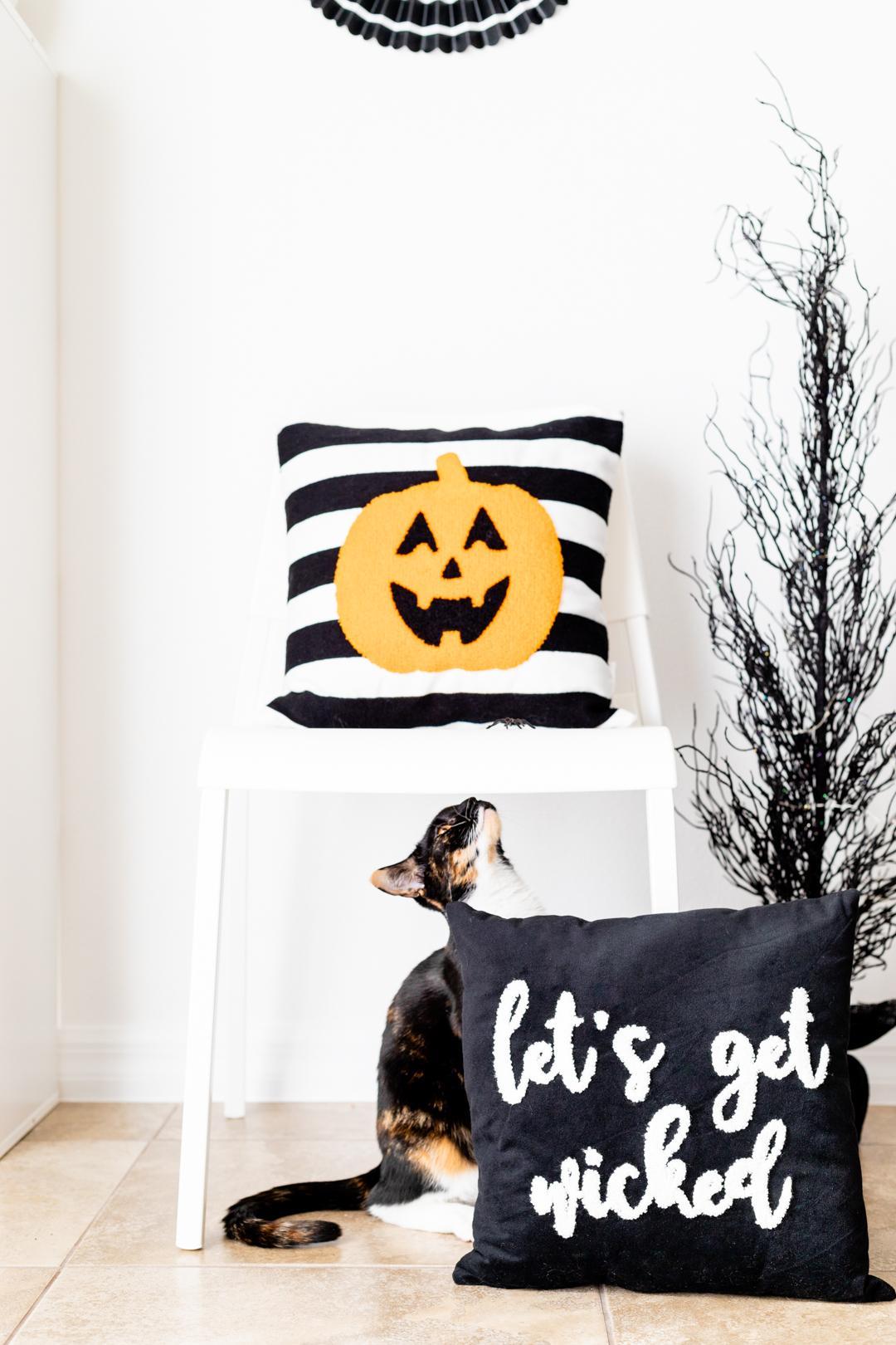 Black, White and Orange Halloween Decor. Trendy modern and clean ideas.