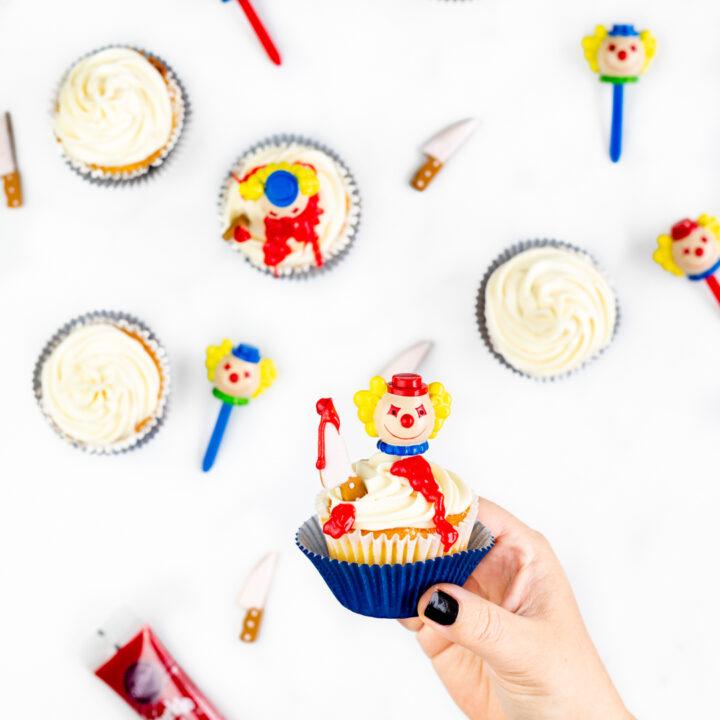 Killer Clown Cupcakes. Perfect for Halloween.