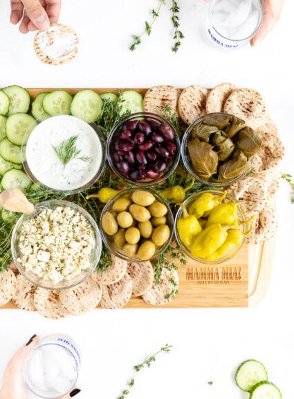 Greek Appetizer Tray. Greek spread to watch Mamma Mia with.