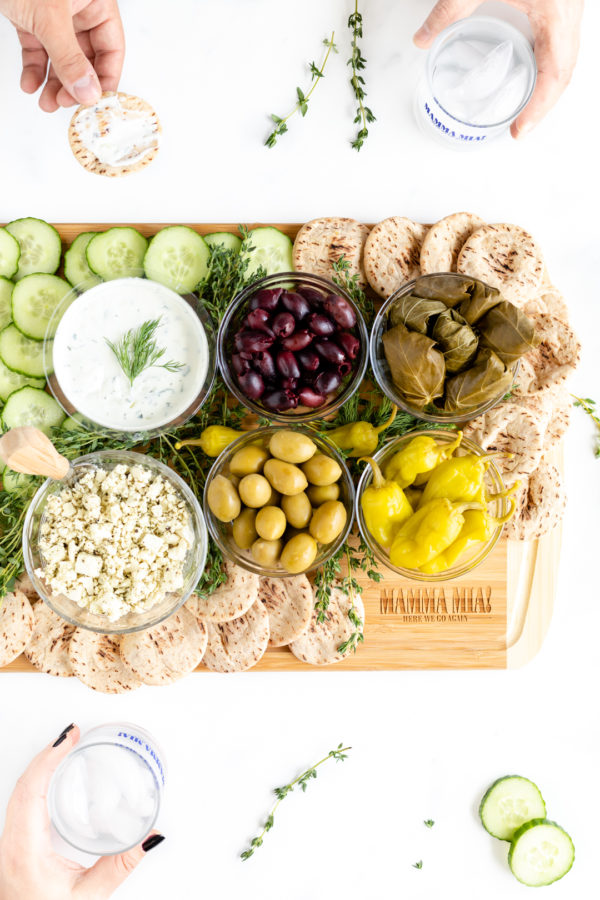Greek Appetizer Tray. Greek spread to watch Mamma Mia with.