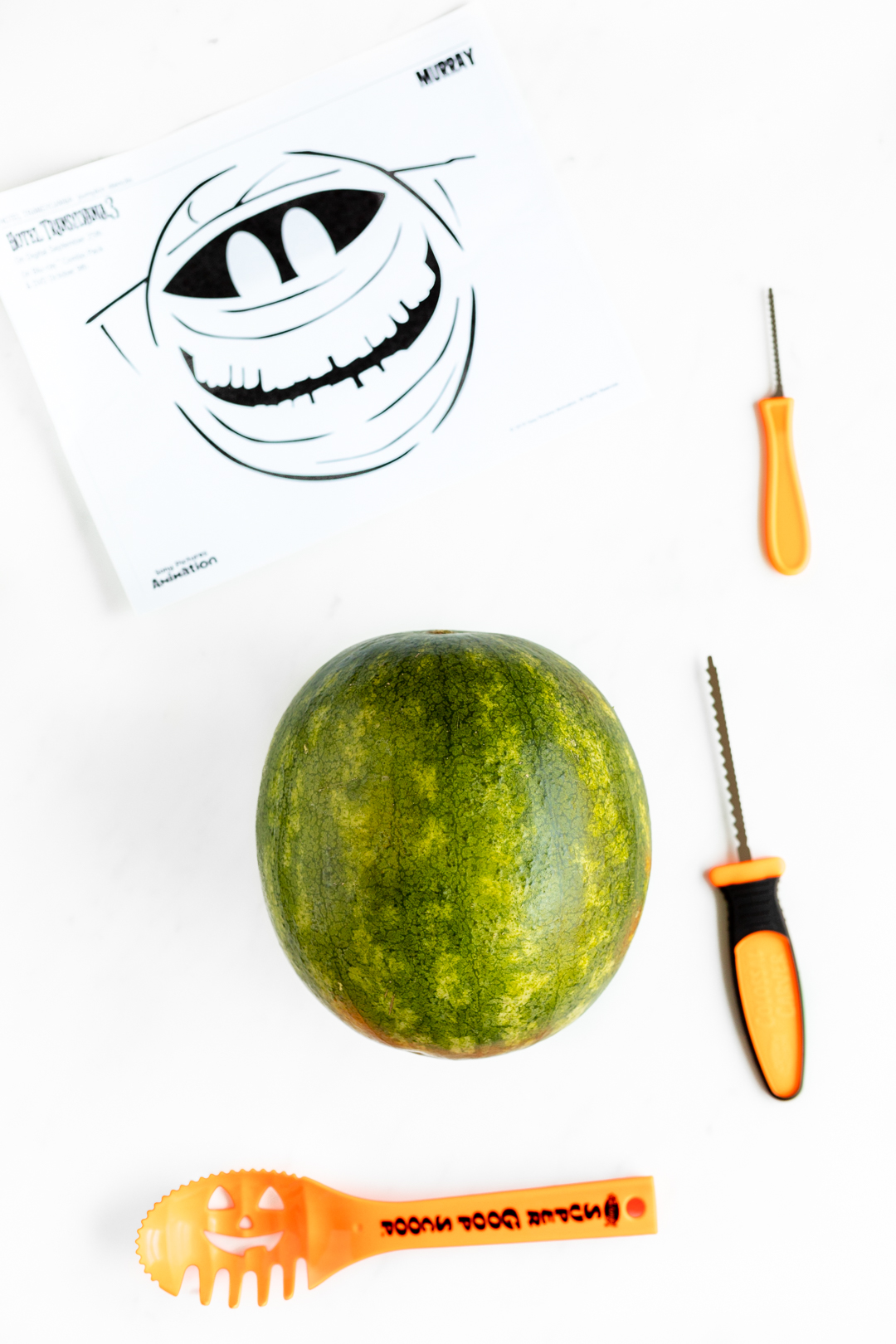 carving a watermelon with pumpkin carving tools