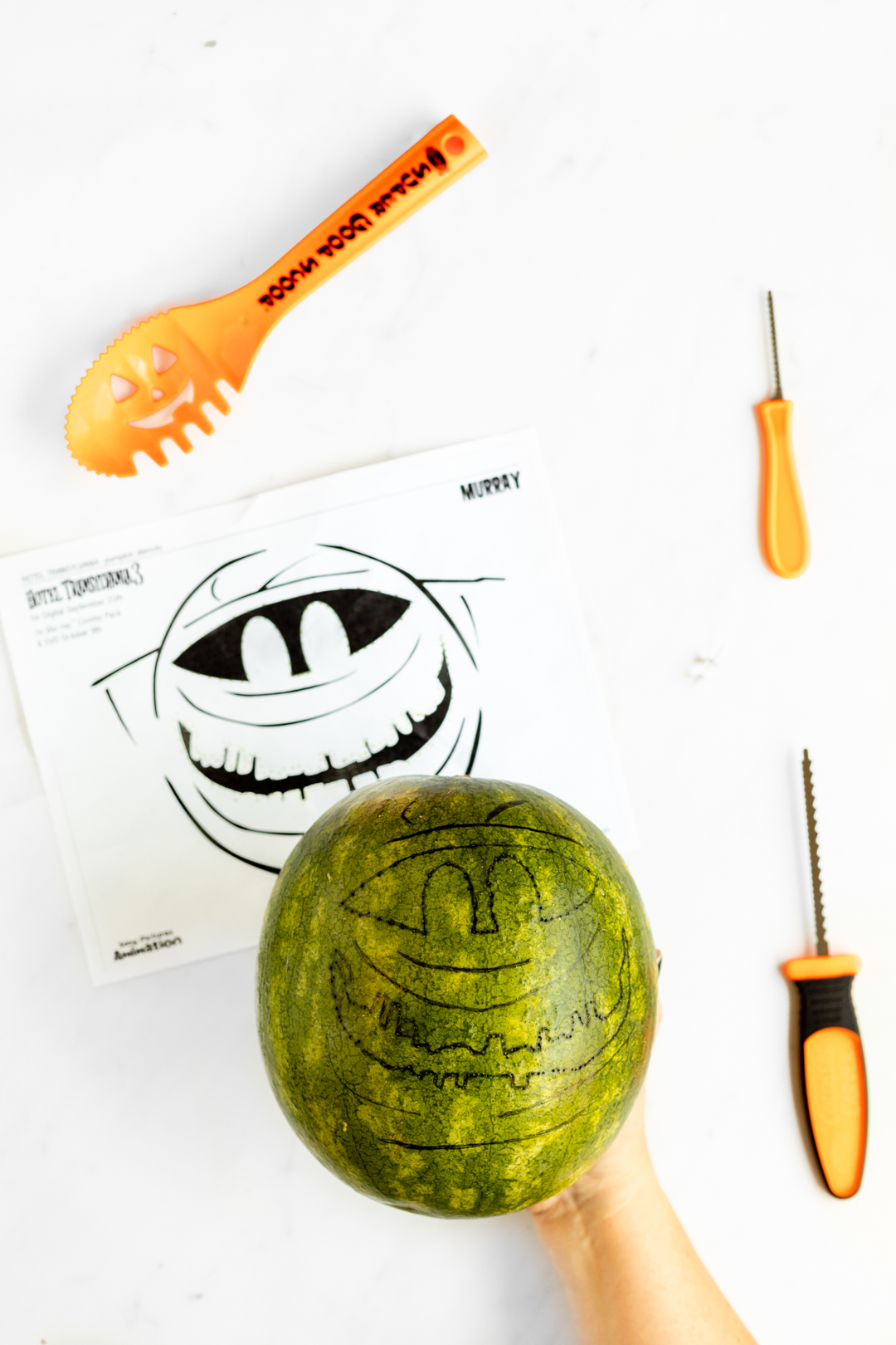 carving a watermelon for halloween