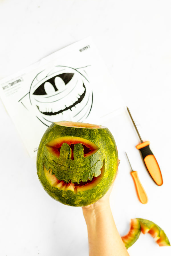 Halloween Watermelon Jack-O-Lanterns