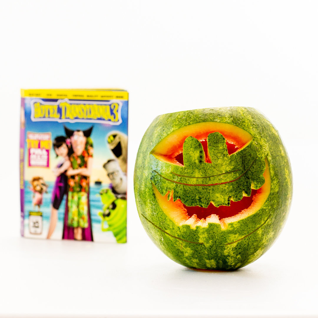 carved out watermelon for halloween