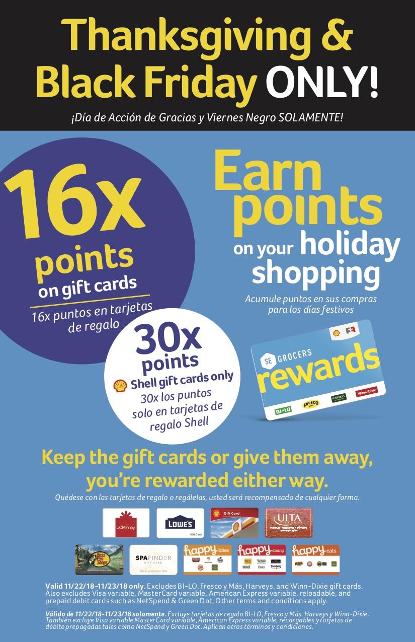 Winn Dixie Gift Card Point Offer.