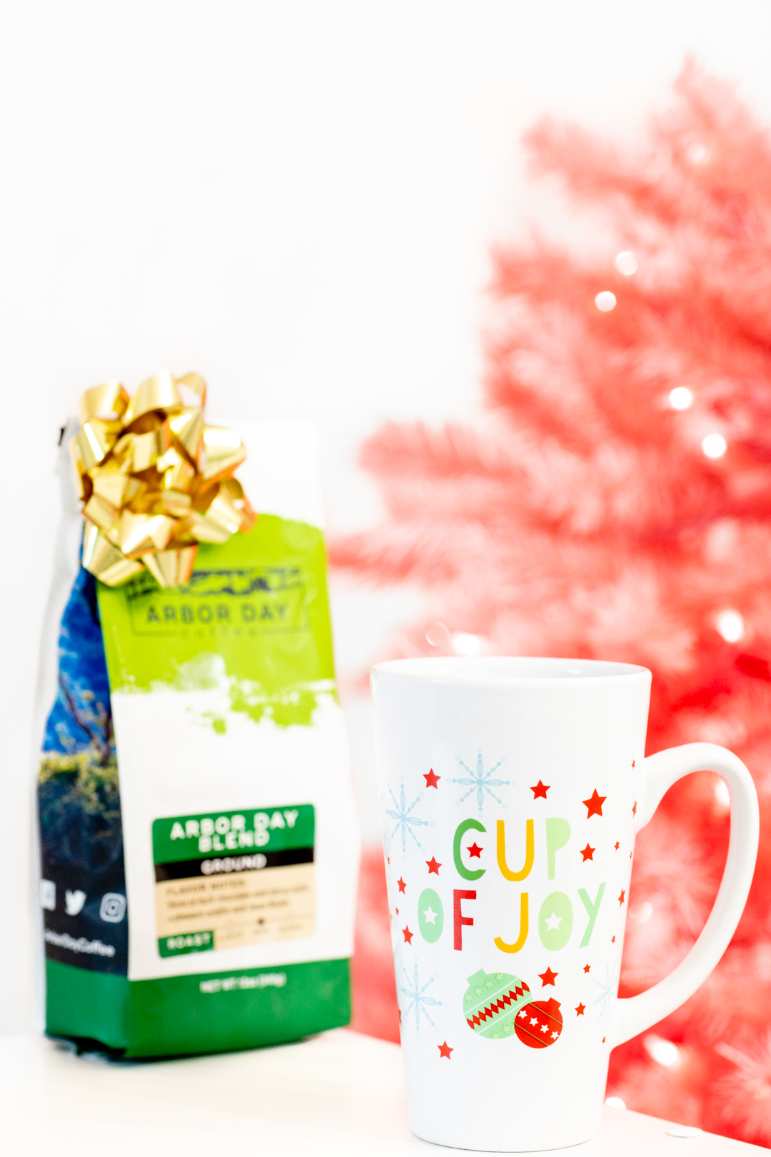 Cup of Joy Travel Mug and Coffee with Christmas Tree