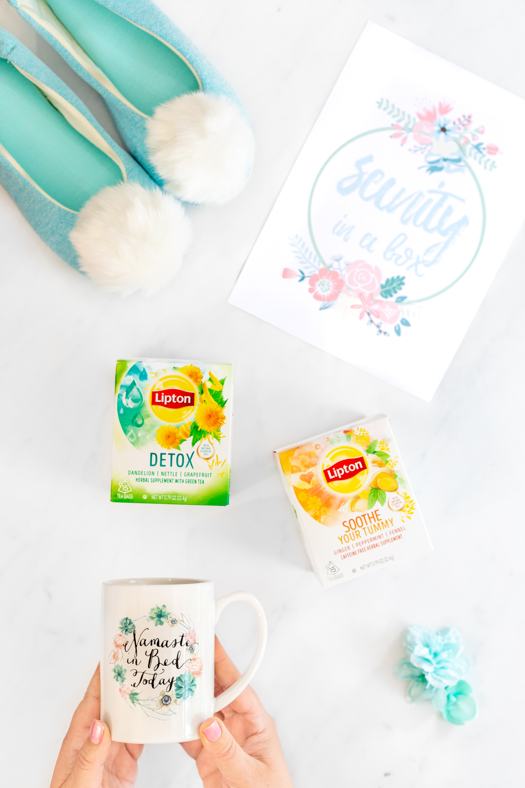 wellness teas, slippers and mug