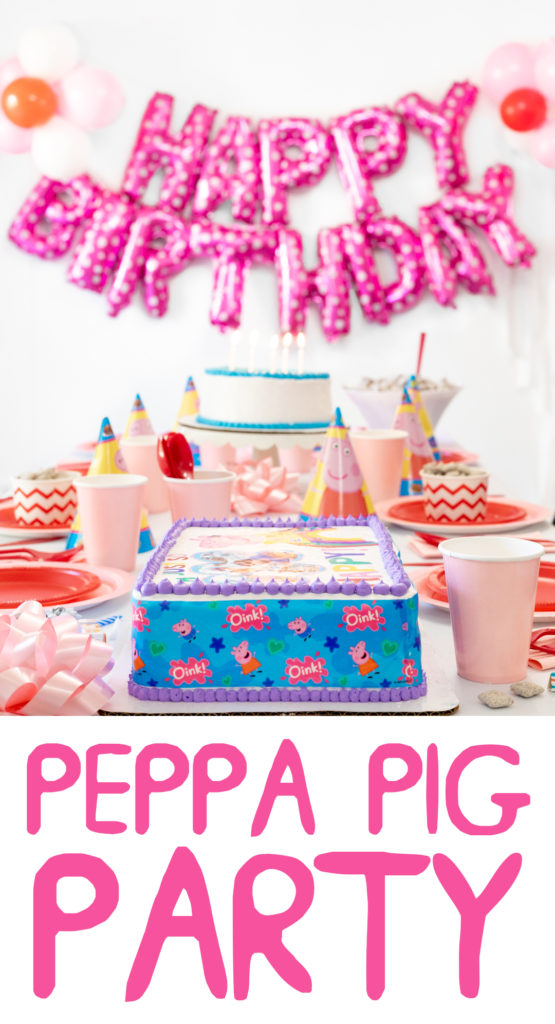 Peppa Pig Party Table. Birthday Balloons.