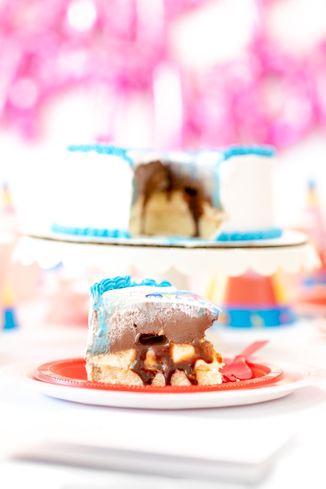 Slice of frozen yogurt cake.