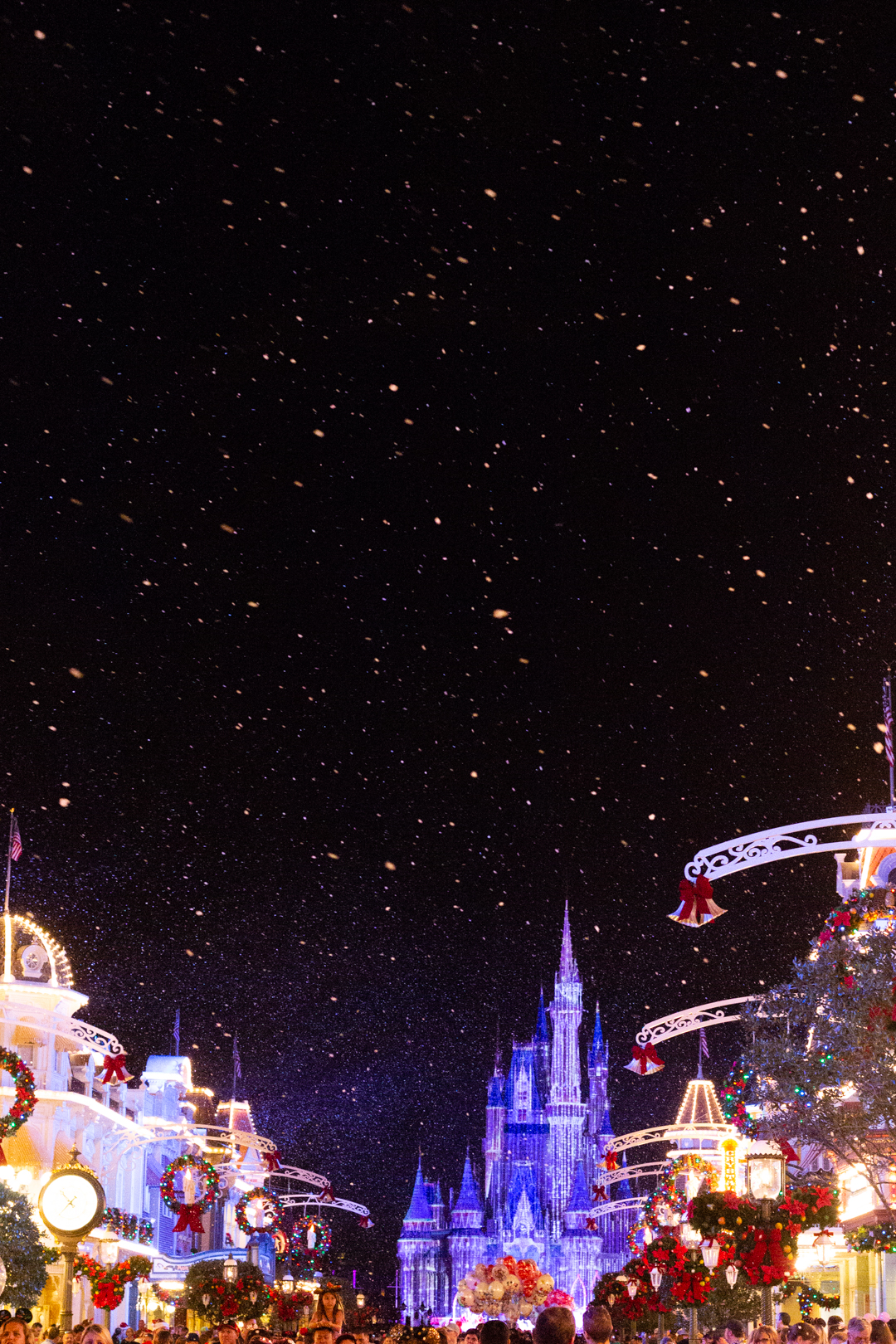 Main Street U.S.A. with Cindarella's Castle during the winter.