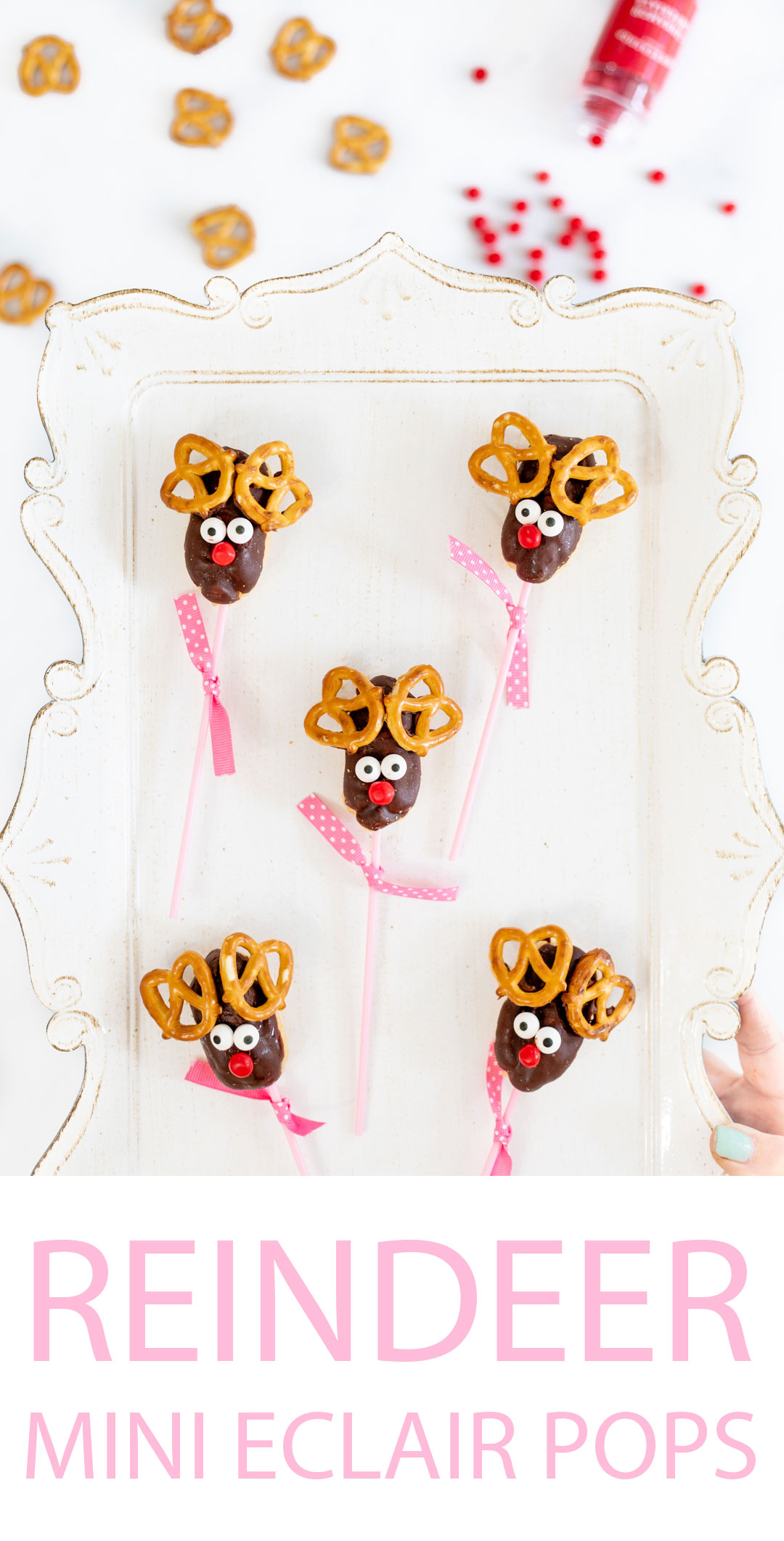 Reindeer Pops made with mini eclairs.