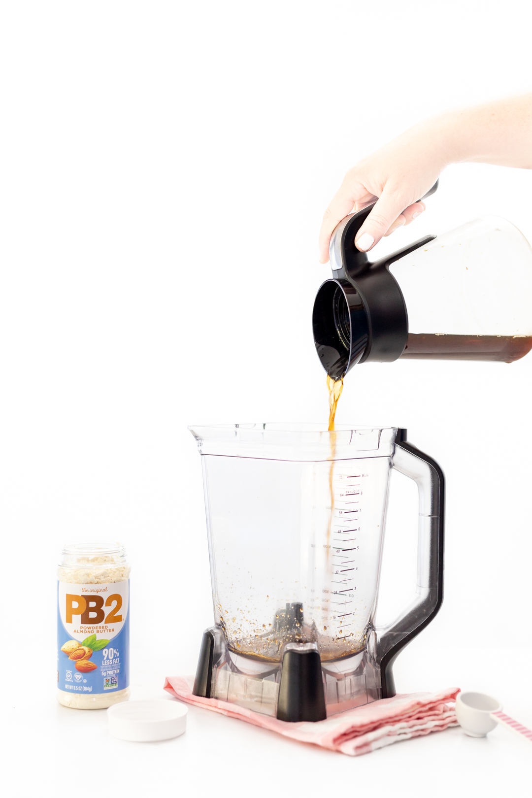 pouring coffee into a blender
