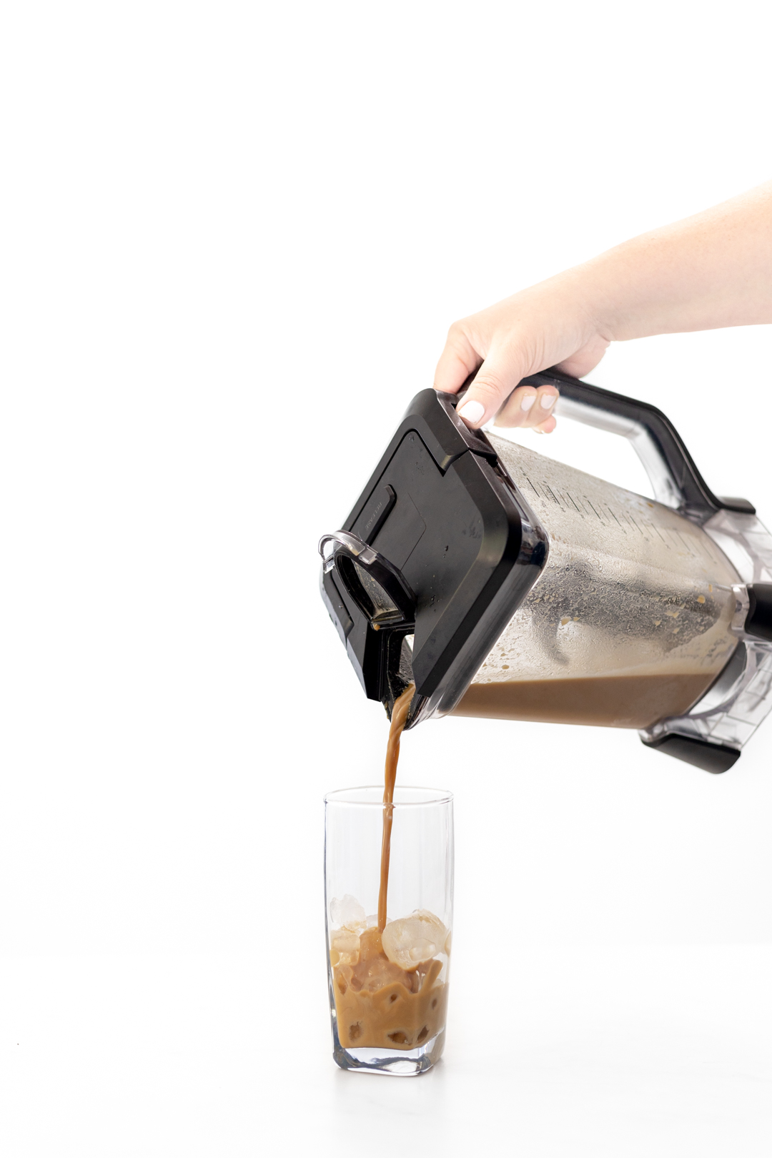 pouring iced coffee