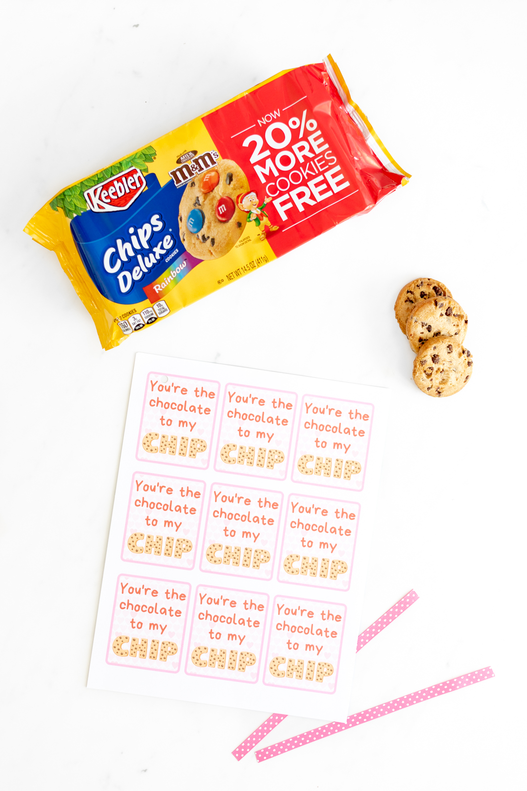 Printable Valentine Cards and pack of cookies