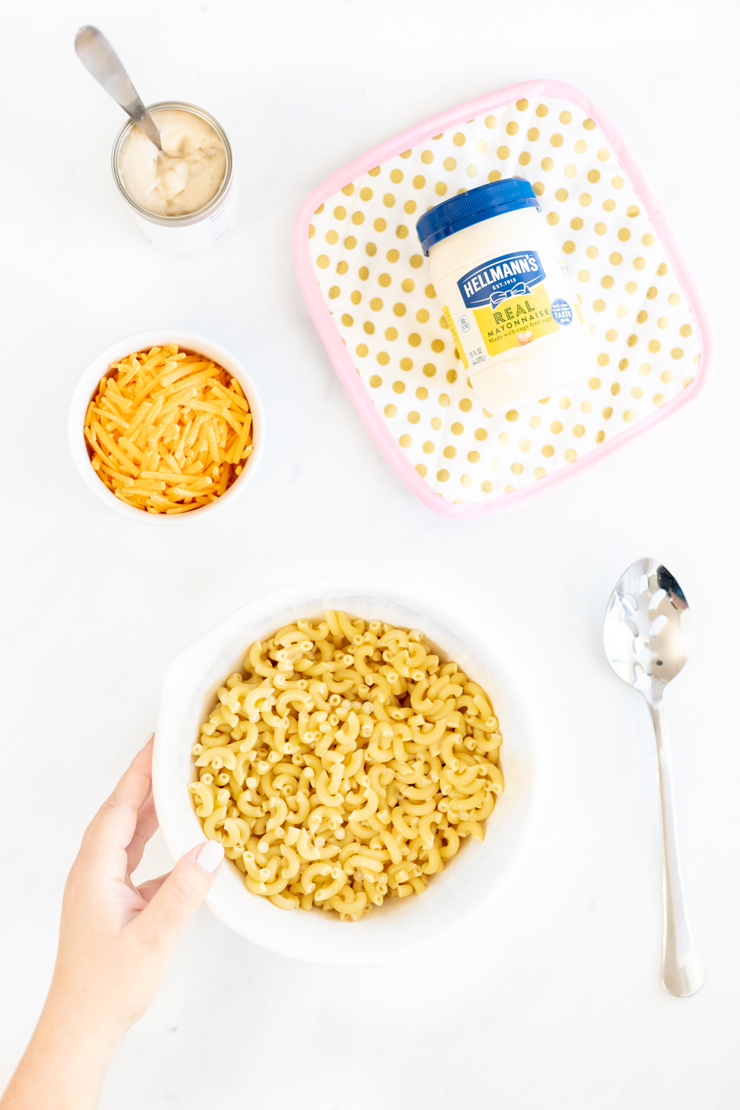 macaroni, hellmann's mayonnaise, shredded cheese and canned soup.