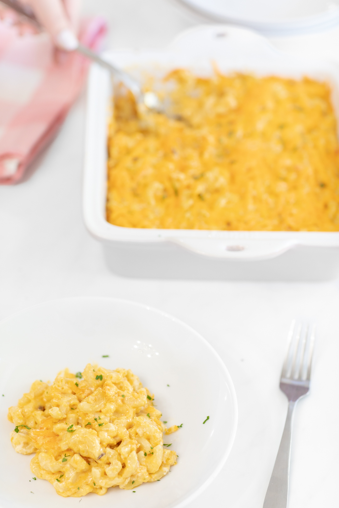 Macaroni and cheese serving dish.