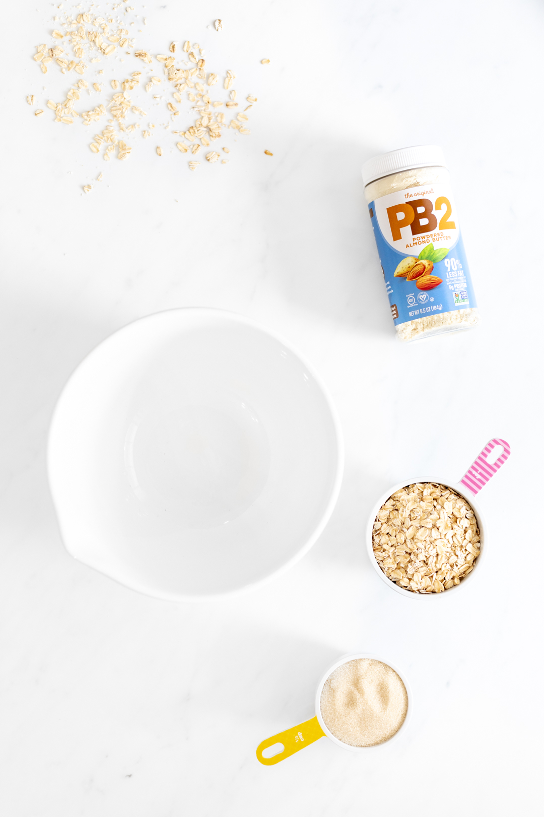 cookie ingredients and mixing bowl