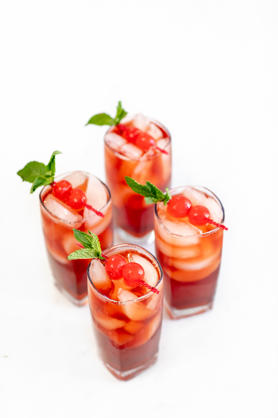 sweet cherry iced tea in glasses