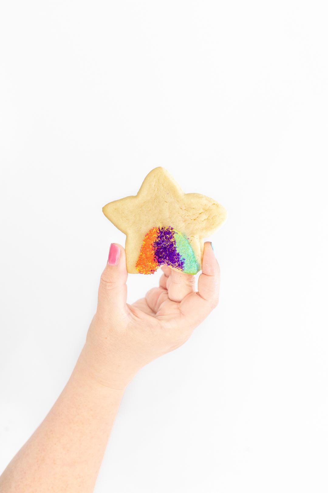 Star sugar cookie with sprinkles
