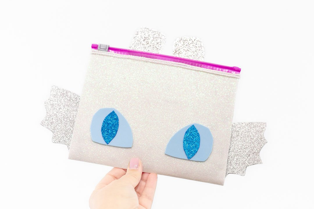 girl dragon pouch with glitter sheets and duck tape