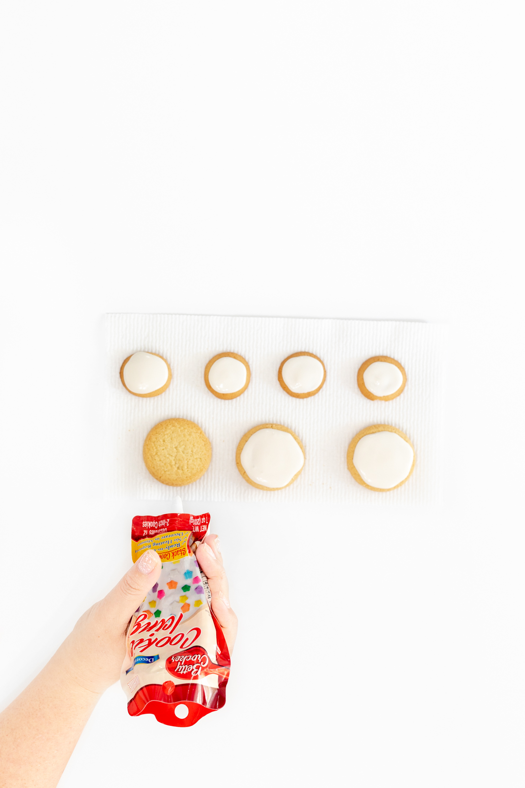 adding cookie icing to store-bought cookies