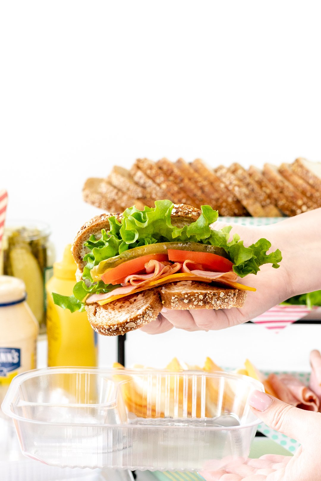 DIY Sandwich Bar sandwich with meat, cheese and vegetable fillings.