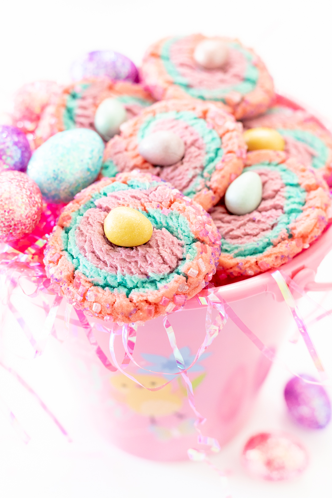easter basket filled with swirl cookies