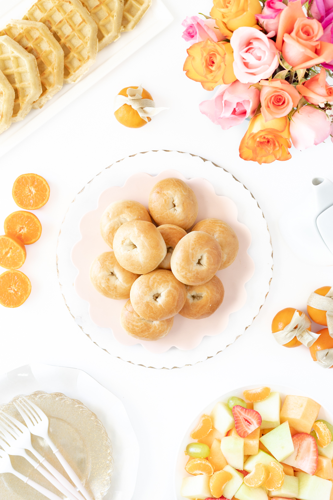 mini bagels on brunch table