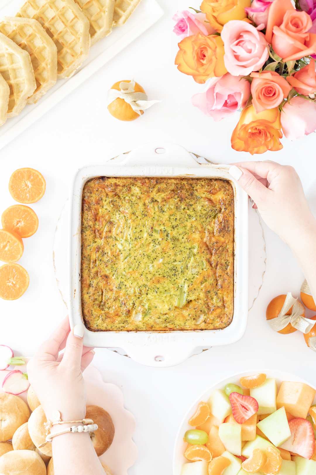 brunch casserole placed on table