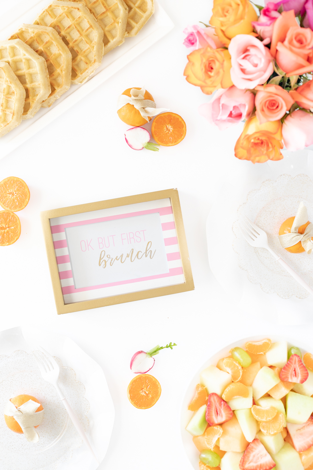 pink and orange brunch layout